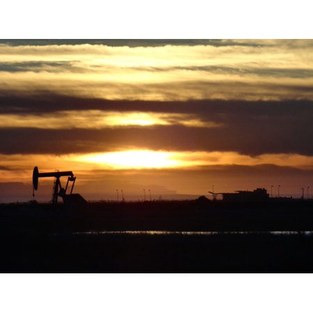 Canvas Print Oil Rig Sunset Huntington Beach Stretched 10 X 14