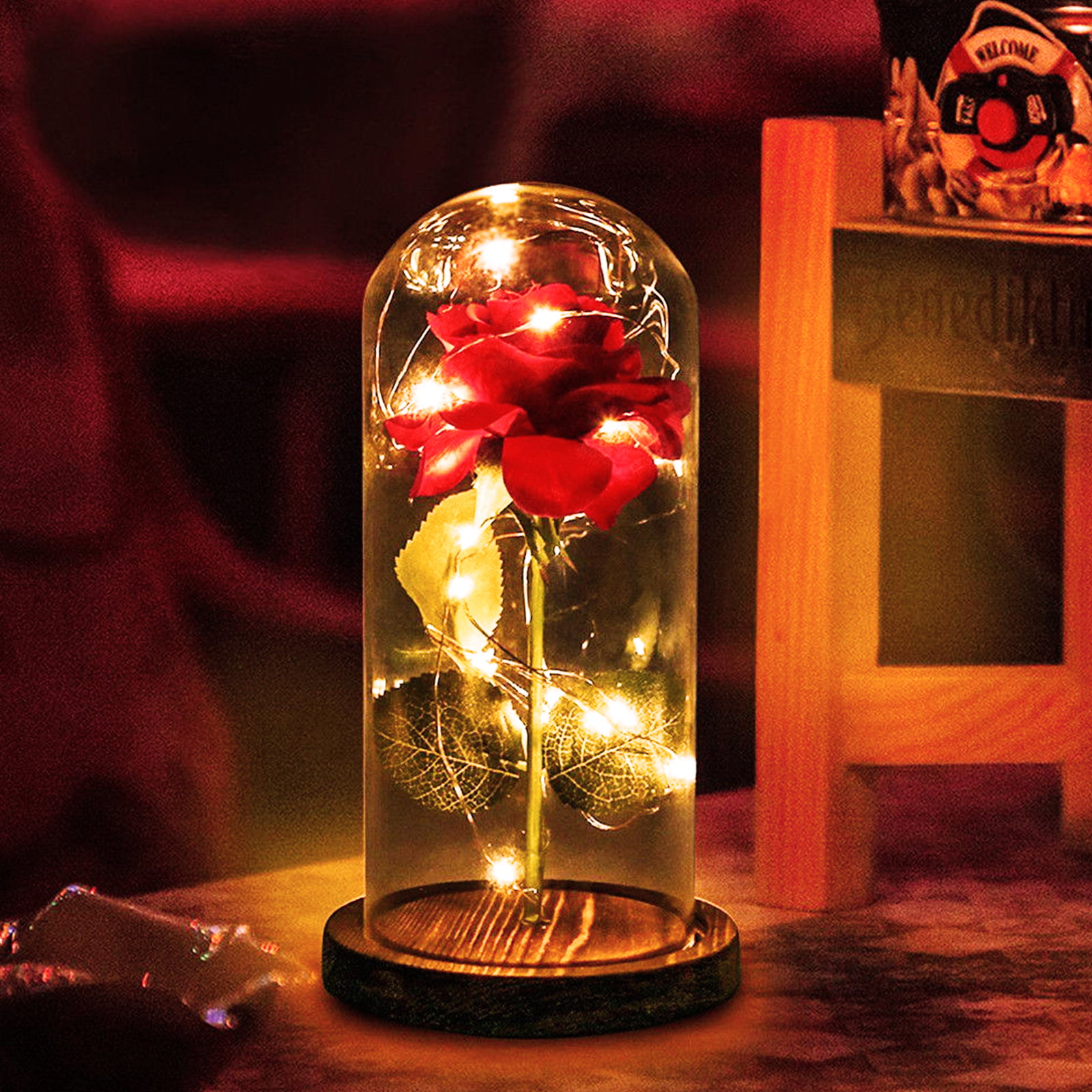 Beauty And The Beast Rose Decor Led Light Battery Powered Usb Powered With Remote Control Light With Fallen Petals In Glass Dome Gift For Mothers Day Valentine S Day Anniversary Birthday Walmart Com