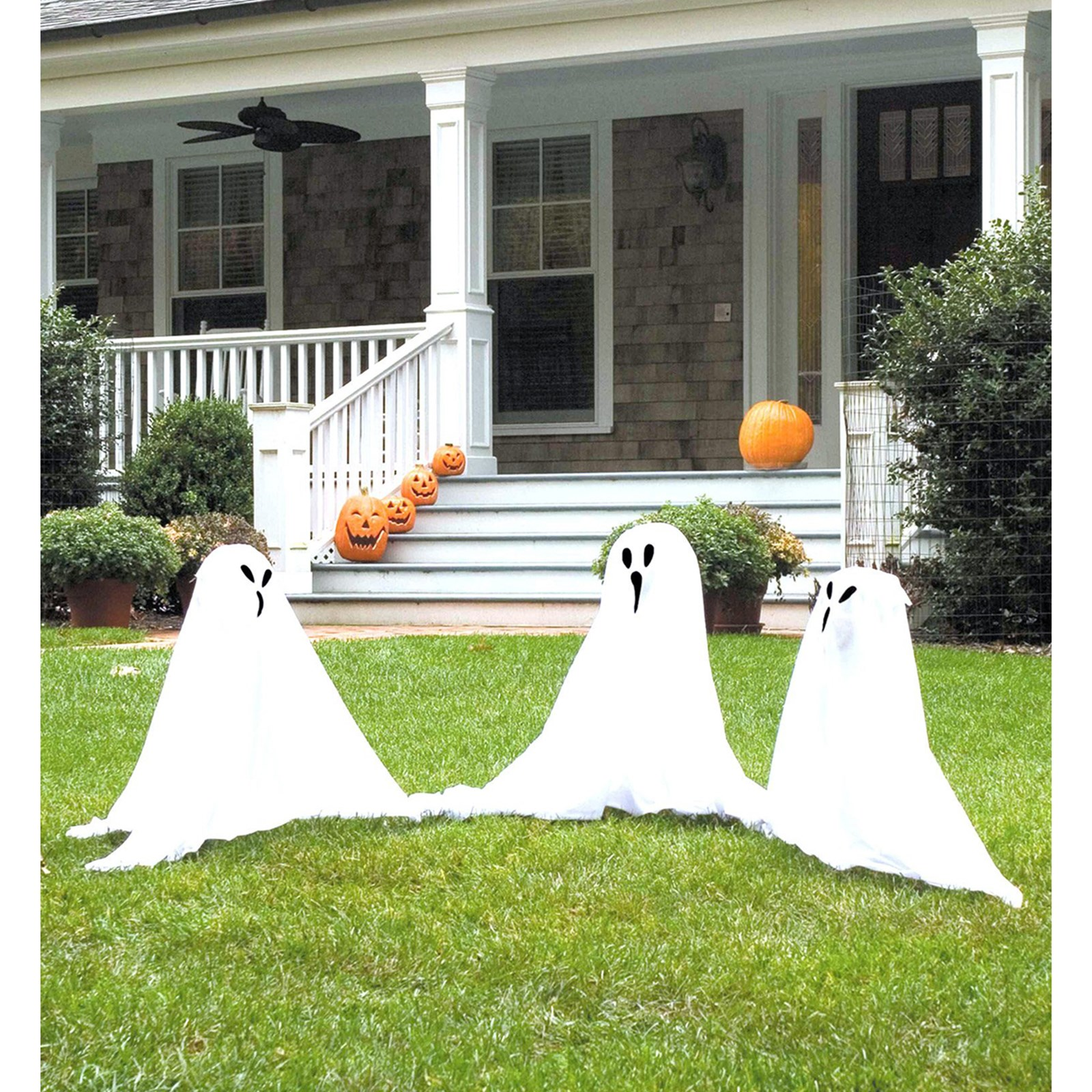 Halloween Ghost Set Light Up 3 Ghosts Prop Outdoor Lawn Yard Lighted Color Decor