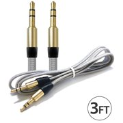 10x 3.5Mm Male To Male Audio Cable by FREEDOMTECH 3FT Universal Auxiliary Cord 3.5mm Male to Male Flat Nylon Braided Audio Aux Cable w/Aluminum Connector for iPod iPhone iPads Galaxy Home Car Stereos