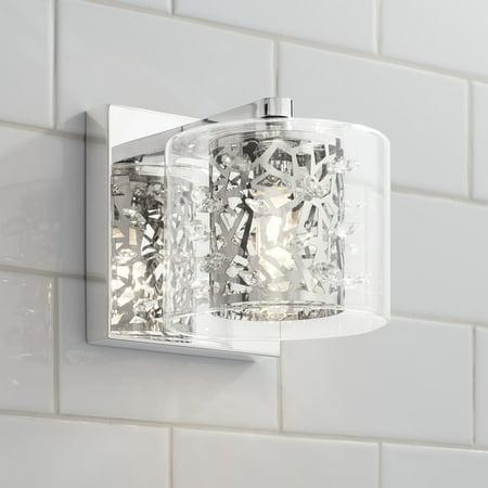 Possini Euro Design Modern Wall Light Sconce LED Chrome Hardwired 5 1/4