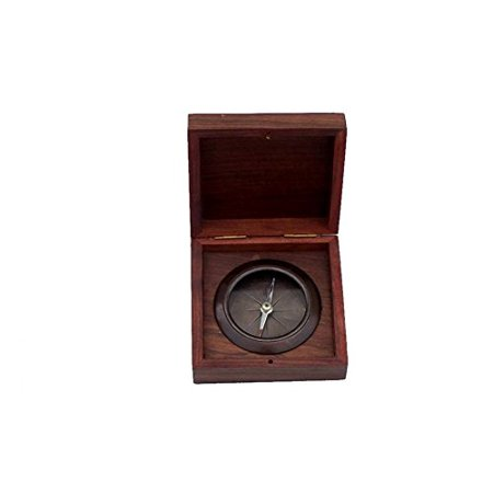 antique copper captains desk compass with rosewood box 4 inch Rosewood Mini Box
