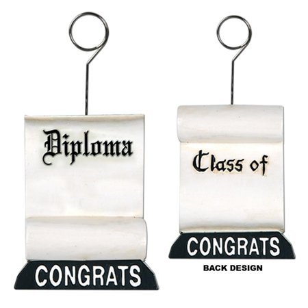 Pack of 6 Black and White Graduation Diploma Photo or Balloon Holder Party Decorations 6 oz. for $<!---->