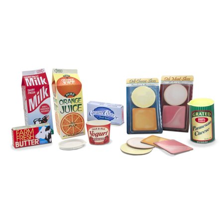 Melissa & Doug Fridge Groceries Play Food Cartons, 8pc, Toy Kitchen Accessories ()