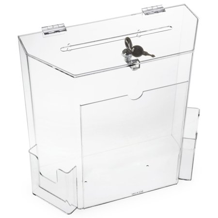 Displays2go Tabletop  Plastic Suggestion Box, 2 Pockets, Locking with 2 Keys