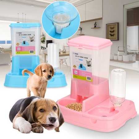 - 2 in 1 Anti-Spill Non-toxic Large Automatic Double Pet Feeder Dogs Cats Food Dish Bowls Food Water Dispenser Container Drinking Fountains Pet Supplies
