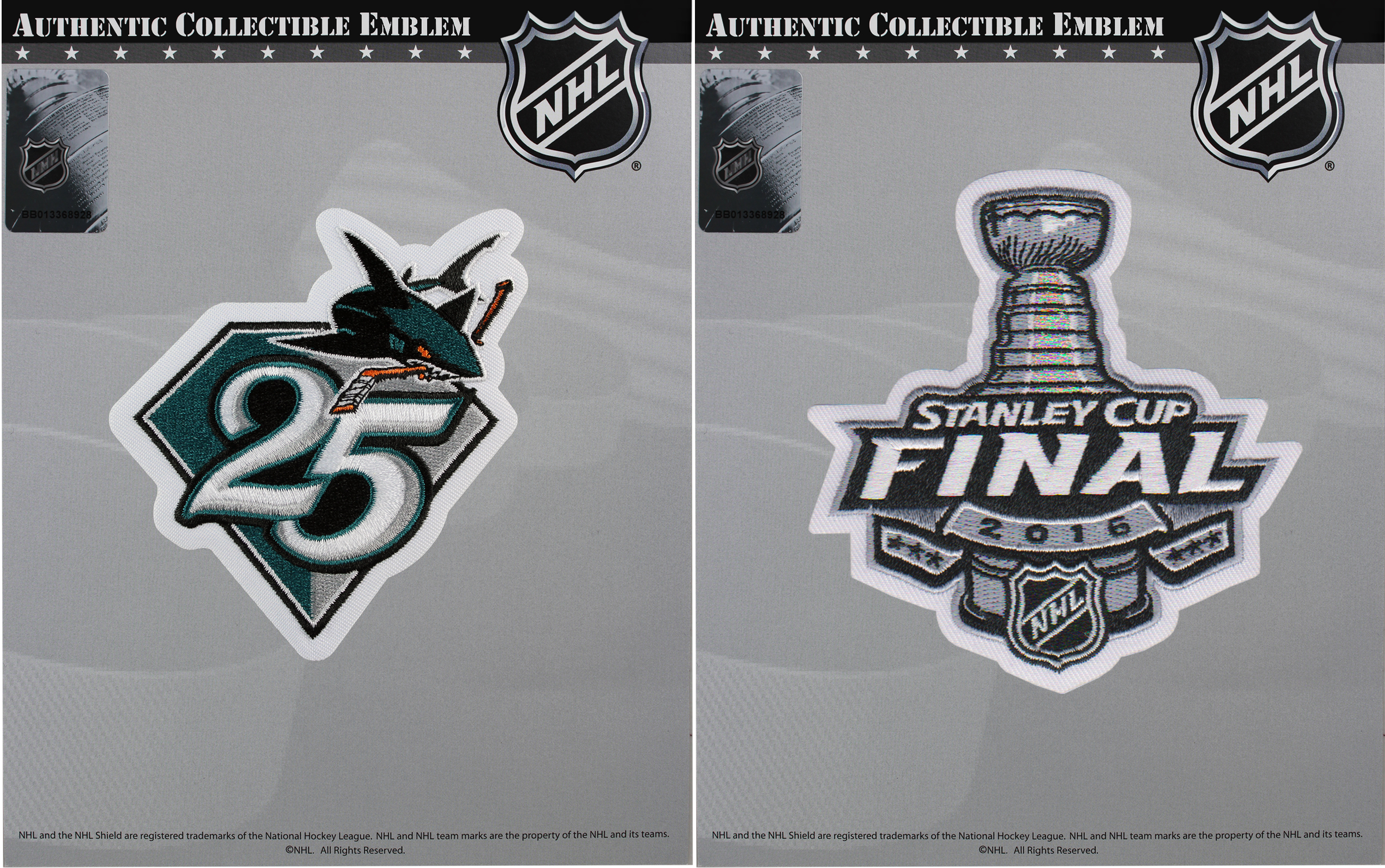 info for 851f8 1c10c NHL San Jose Sharks 25th Anniversary Season & 2016 Stanley Cup Final Patch  Combo