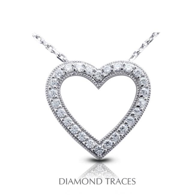 Diamond Traces 0.68 Carat Total Natural Diamonds 18K White Gold Prong Setting Heart Shape With Milgrain Fashion Pendant - image 1 de 1