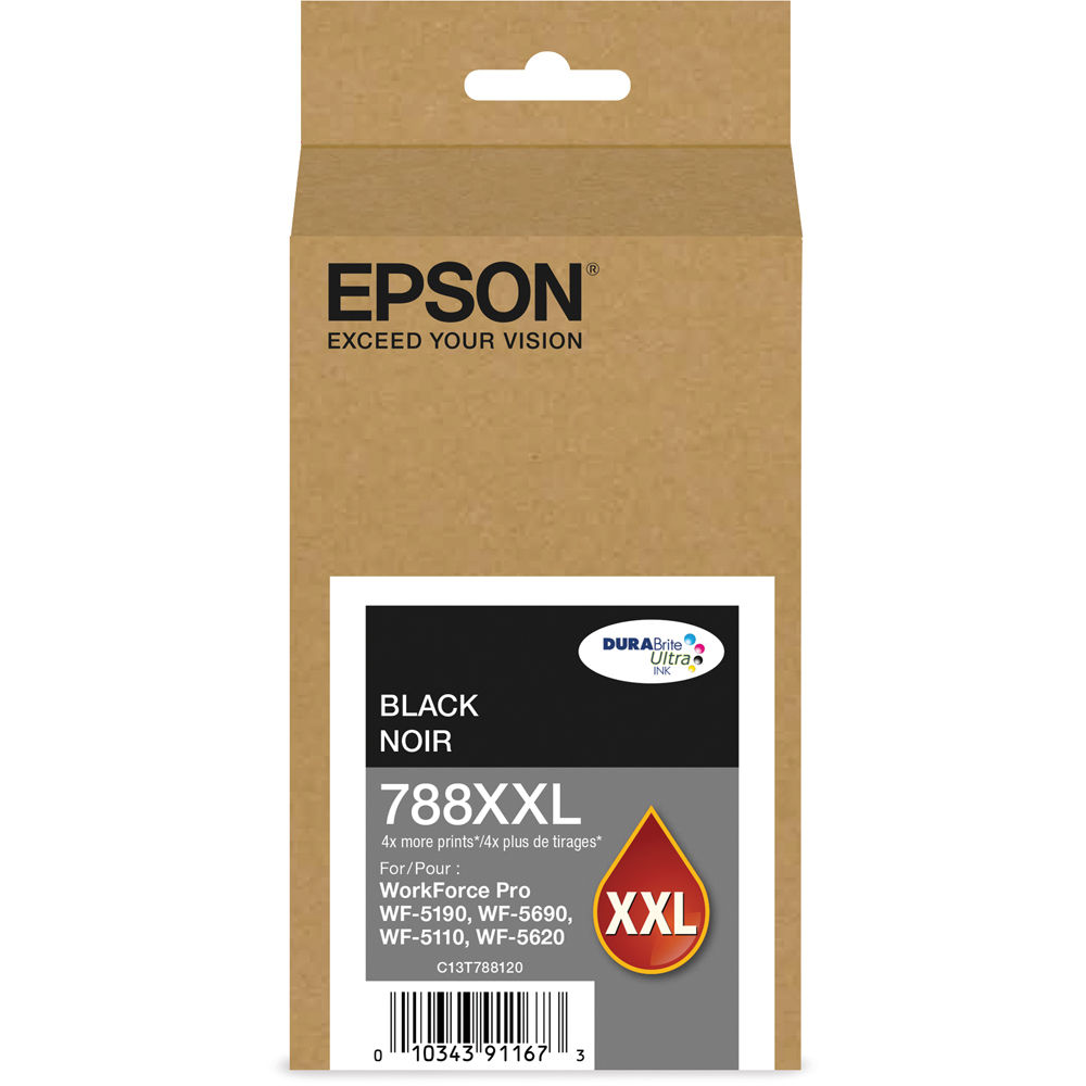 Epson (788XXL) DURABrite Ultra Extra High Capacity Black Ink Cartridge (4,000 Yield) T788XXL120 by Epson