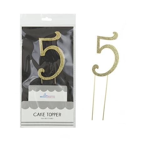 Mega Crafts Sparkly Gold Rhinestone Number 5 Cake Topper