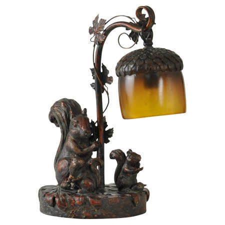 Table Lamp - Dark Bronze Finish - Amber Glass Shade Amber Victorian Table Lamp