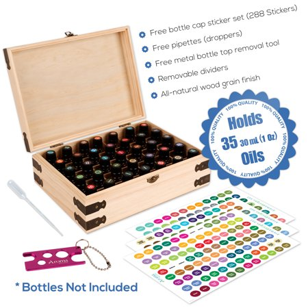 Wood Essential Oil Box Organizer - Holds 35 30ml (1 oz) Bottles - Includes Labels, Bottle Top Removal Tool & Pipettes - Protect, Store, & Organize Pure Essential Oils