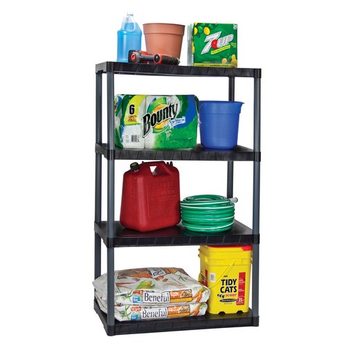 Plano 4-Tier Shelving Unit, Black