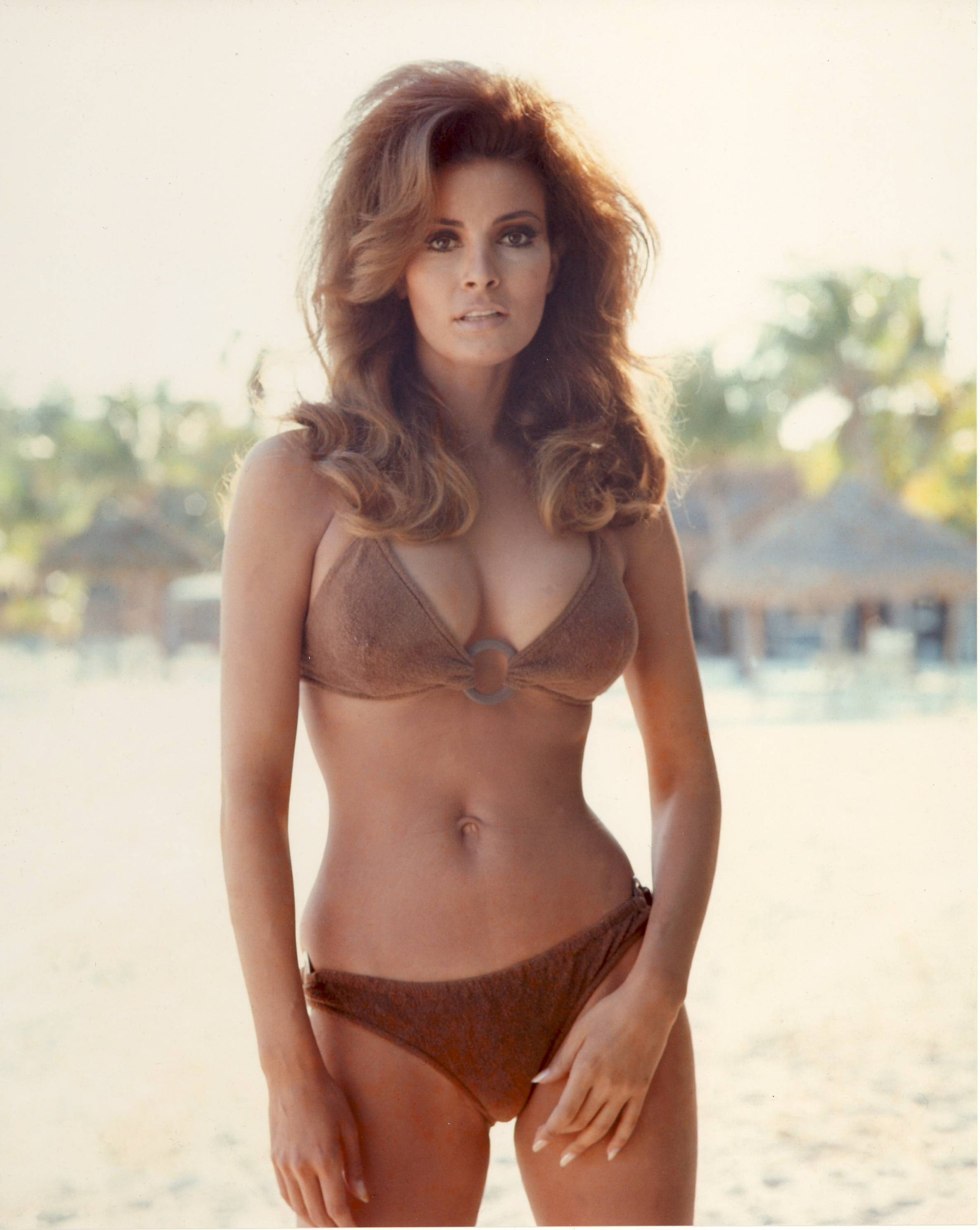 Raquel Welch lying on sand white bikini pin up 11x17 Mini Poster