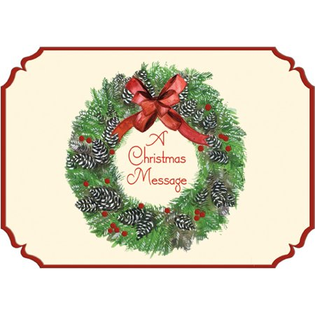 Designer Greetings Wreath: A Christmas Message Die Cut Box of 18 Christmas Cards