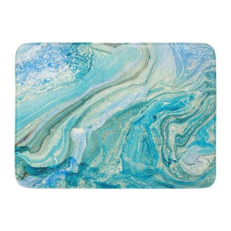 M/t Fluid - SIDONKU Watercolor Marble Blue Marbling Creative Abstract Oil Waves Liquid Paint Fluid Doormat Floor Rug Bath Mat 23.6x15.7 inch