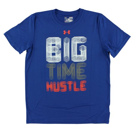 Under armour boys big time hustle t shirt royal blue for Under armour shirts at walmart