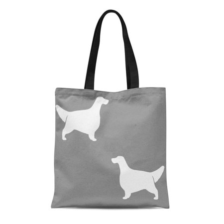 Setter Silhouette (KDAGR Canvas Tote Bag Dog English Setter Pattern Grey Pets Silhouette Reusable Handbag Shoulder Grocery Shopping Bags)