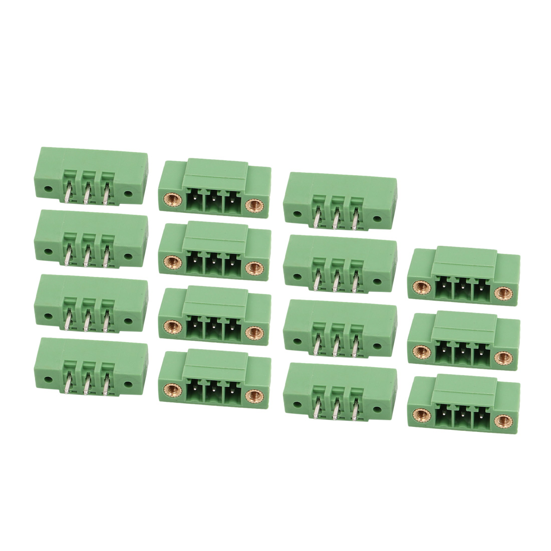 15Pcs AC 300V 8A 3.81mm Pitch 3P Terminals Block Wire Connecting f PCB Mounting