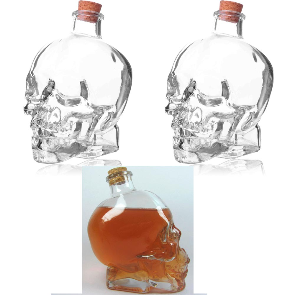 2 Glass 14oz Skull Head Decanter Container Flask Jar Vodka Whiskey Tequila Cup