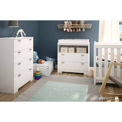 South Shore Reevo Changing Table and 4 Drawer Chest, White