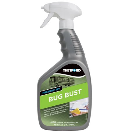 Premium RV Bug Bust - Sun-Baked Bugs Cleaner, Safe On RVs / Cars / Boats / Motorcycles - 32 oz - Thetford (Best Rv Bug Remover)