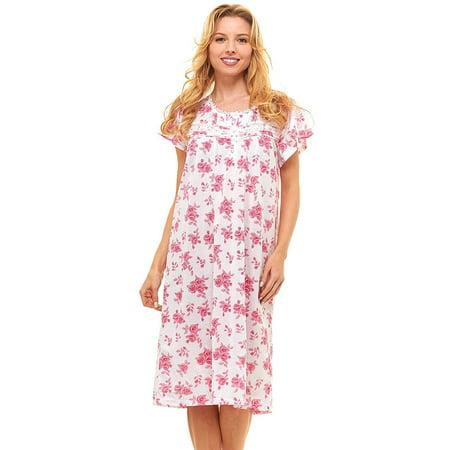 Trulee - Womens Nightgown Sleepwear Cotton Pajamas - Womans Short Sleeve  Sleep Dress Nightshirt - Walmart.com f6f10ddd8