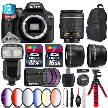 Nikon D3400 DSLR Camera + AF-P 18-55mm VR + Pro Flash + 9PC Filter Kit + 48GB