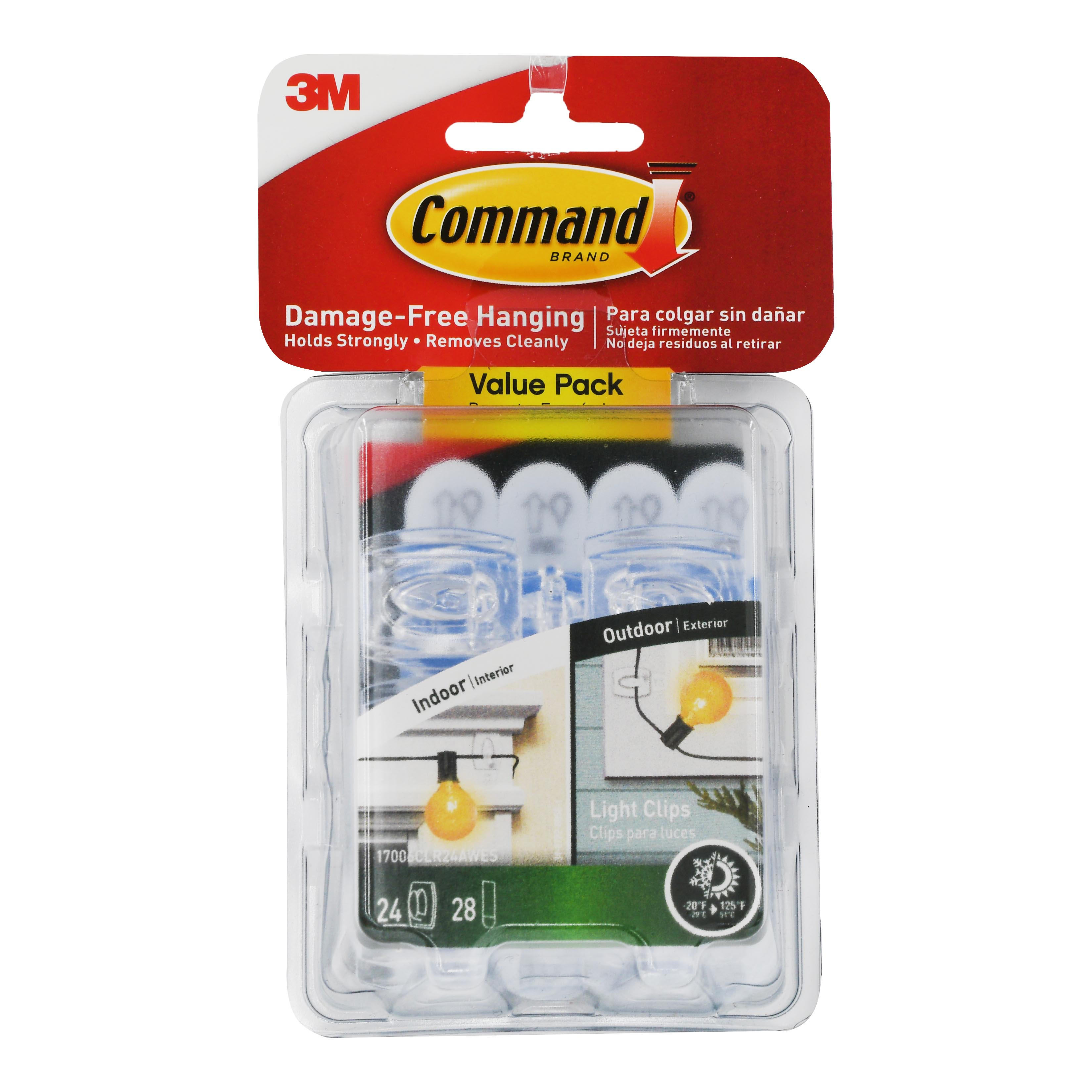 Command Indoor/Outdoor Light Clips, 24 hooks, 28 strips