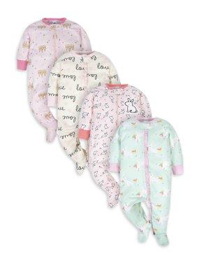 Gerber Newborn Baby Girls Sleep 'N Play Footie Pajamas, 4-Pack