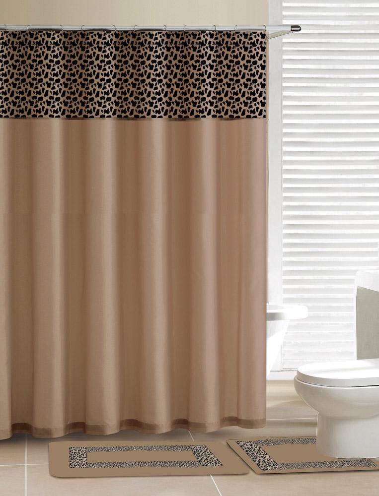 Home Dynamix Designer Bath Shower Curtain And Rug Set Db15l 150 Leopard Beige 15 Piece