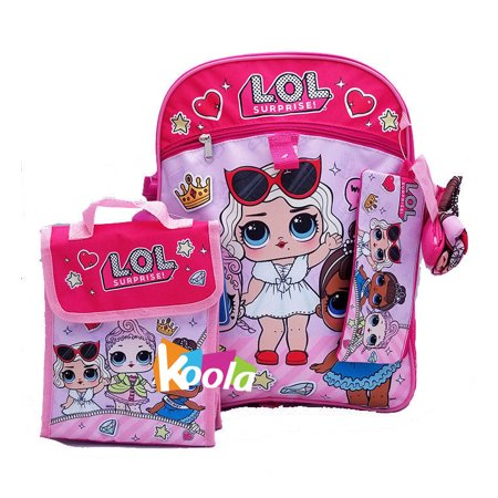 L.O.L. Surprise lol Girls School Book bag Backpack Lunch Box Set Doll Kids Pink - Deadpool Book Bag