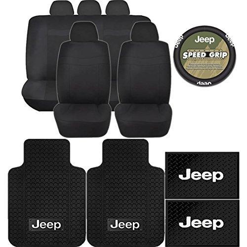 13pc Jeep Mopar Black Rubber Floor Mats Steering Wheel Classic BLACK Seat  Covers