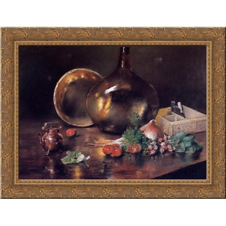 Still Life - Brass and Glass 24x18 Gold Ornate Wood Framed Canvas Art by William Merritt (How To Choose Glasses Frames)