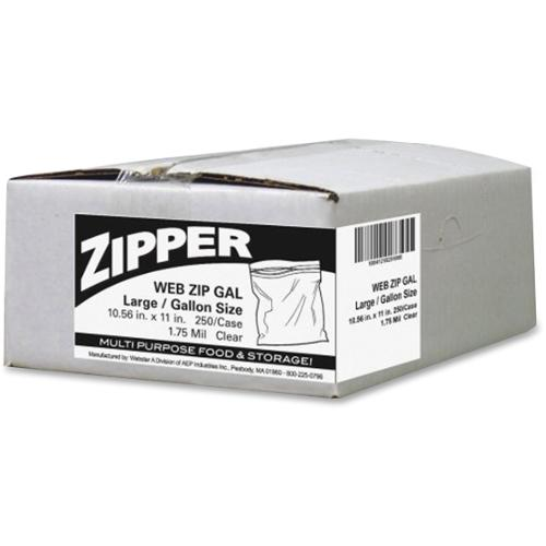 Webster Zipper Storage Bags - 1.75 mil (44 Micron) Thickness - Clear - Plastic - 250/Carton - Food