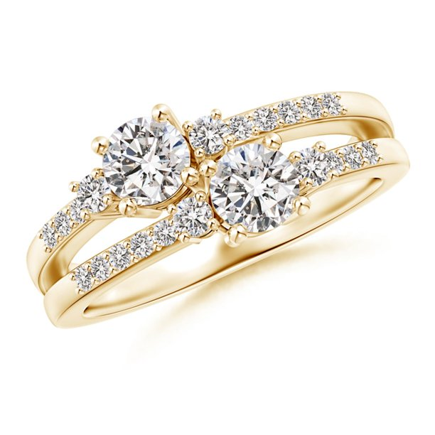 Two Stone Diamond Split Shank Ring with Prong Setting in 14K Yellow Gold (Weight: 0.8ctwt)