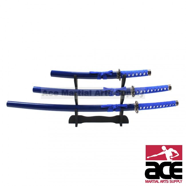 Japanese Sword Set with Blue Scabbard
