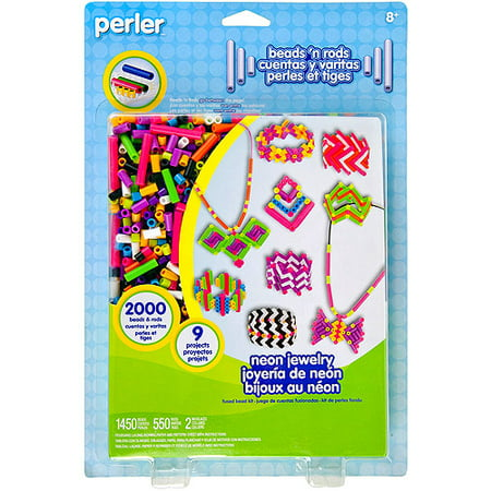 Perler Fun Fusion Fuse Bead & Rod Activity Kit, Neon Jewelry, 2000 Pieces and 1