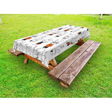 Funny Outdoor Tablecloth, Cute Retro Bunny Rabbits with Costumes Jack Hare Funky Bunnies Carrot Sketch Style, Decorative Washable Fabric Picnic Table Cloth, 58 X 84 Inches,Orange White, by Ambesonne