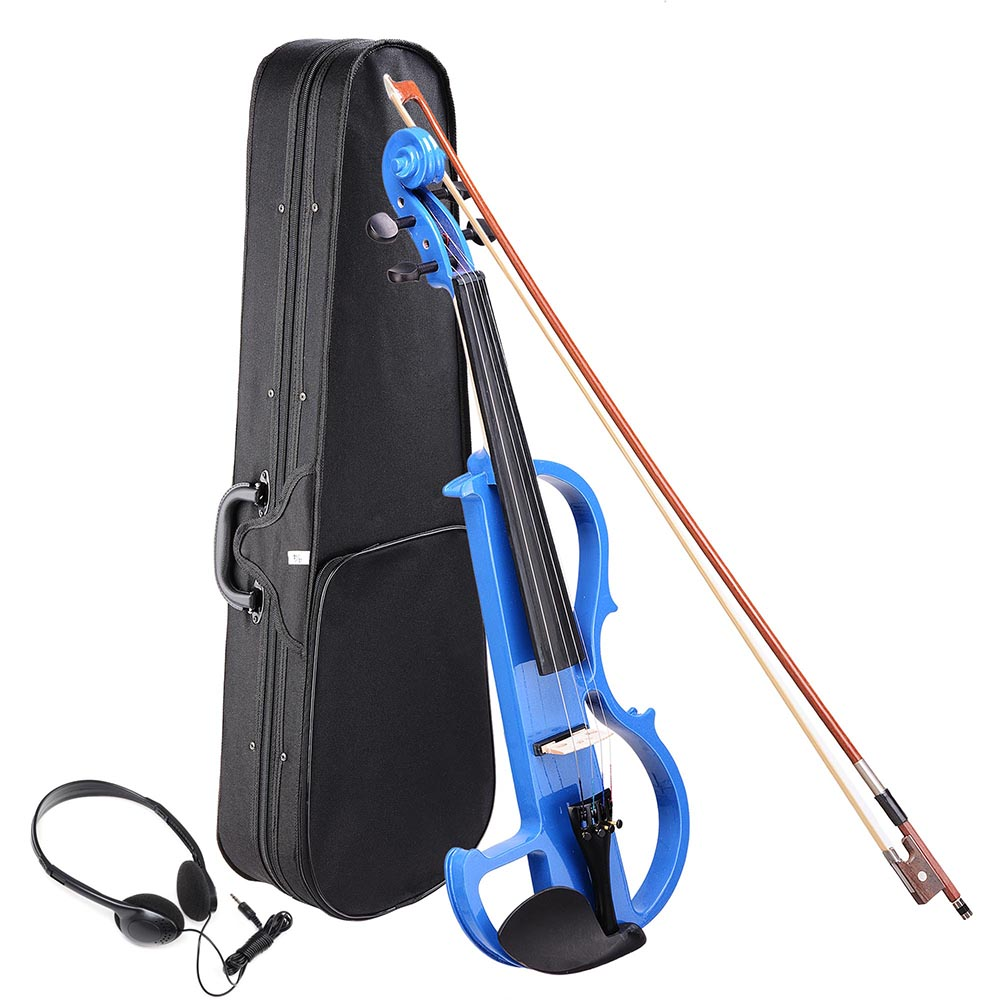 4 4 Electric Violin Full Size Wood Silent Fiddle Musical Instrument Fittings Headphone by Yescom