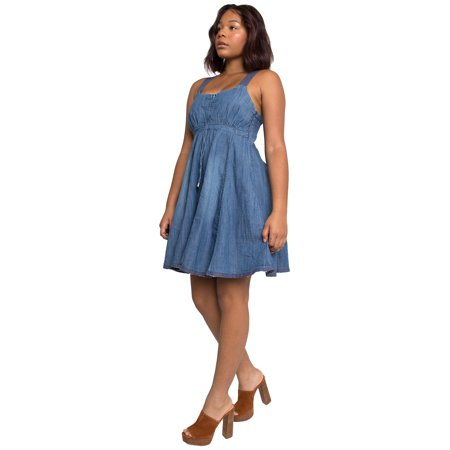 Sweet Vibes Junior Womens Denim Dress A-Line Racerback Stretch Empire Waist