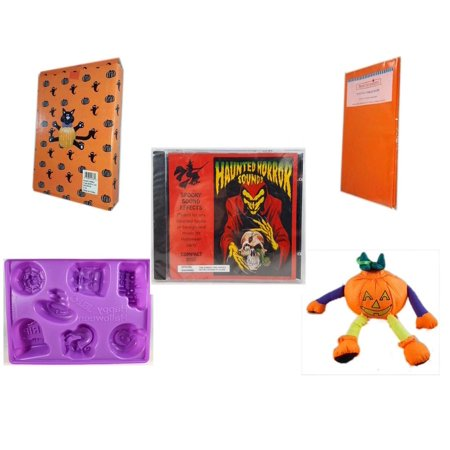 Halloween Fun Gift Bundle [5 Piece] -  Cat Pumpkin Push In 5 Piece Head Arms Legs - Bright Pumpkin Orange Plastic Table Cover  - Haunted Horror Sounds CD - Happy  Jell-O Mold - Pumpkin Ornament Plus - Halloween Jello