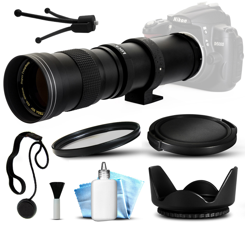Opteka 420-800mm f8.3 Telephoto Zoom Lens Kit with UV Fil...