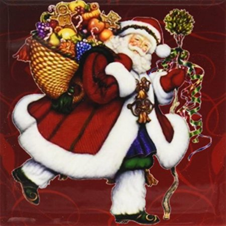 Jolly Old Santa - 3dRose Jolly old Saint Nick Santa Claus with gifts waiting for delivery, Ceramic Tile Coasters, set of 4