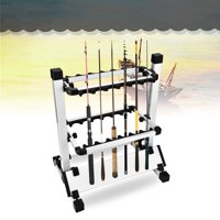 WALFRONT Perfect Fishing Rod Holder Stand Rack, Fishing Pole Rack, Aluminum Alloy Lightweight Fishing Rod Pole Holder Stand Organizer Rack 12 Rods for Most Types of Fishing Rods and Combos