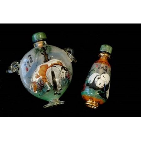 Hand Painted Snuff Bottles with Jade Tops and Horse Globe Chinese Handicrafts China Canvas Art - Cindy Miller Hopkins DanitaDelimont (17 x 11)