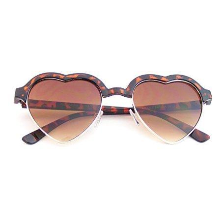 - Emblem Eyewear - Cute Vintage Half Frame Inspired Heart Shape Sunglasses