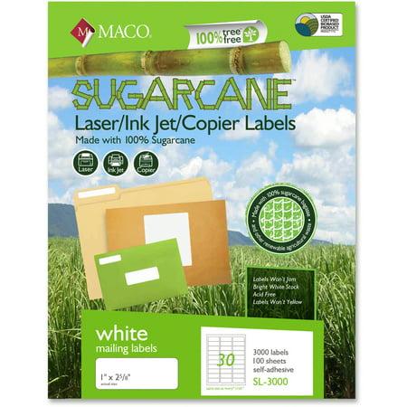 Maco, MACMSL3000, Printable Sugarcane Shipping Labels, 3000 / Box, White (Halloween Food Label Printables)