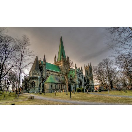 Framed Art for Your Wall Norway Trondheim Nidaros Cathedral Architecture 10x13 (Norwegian Fox)