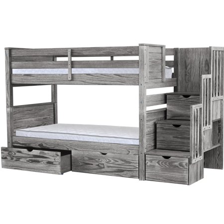 Bedz King Stairway Bunk Beds Twin over Twin with 3 Drawers in the Steps and 2 Under Bed Drawers Rustic